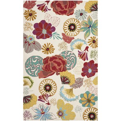 Stacy Ivory/Red Outdoor Area Rug Rug Size: 36 x 56