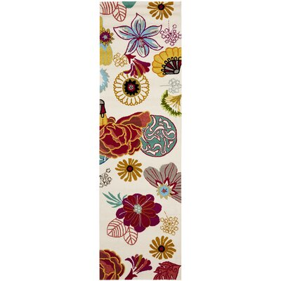 Stacy Ivory/Red Outdoor Area Rug Rug Size: 24 x 4