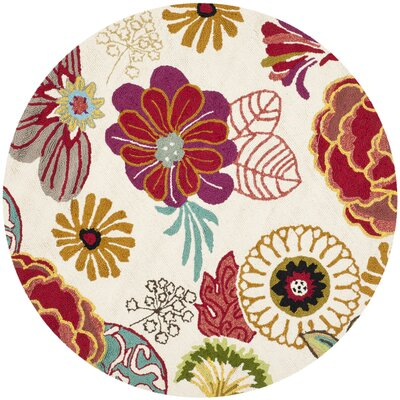 Stacy Ivory/Red Outdoor Area Rug Rug Size: Round 6