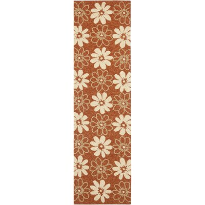 Hayes Rust/Ivory Outdoor Area Rug Rug Size: Runner 23 x 8
