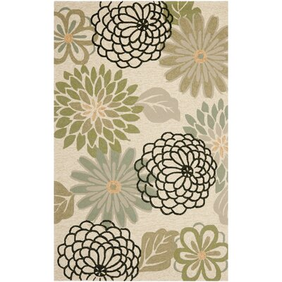 Stacy Beige/Green Indoor/Outdoor Area Rug Rug Size: 5 x 7