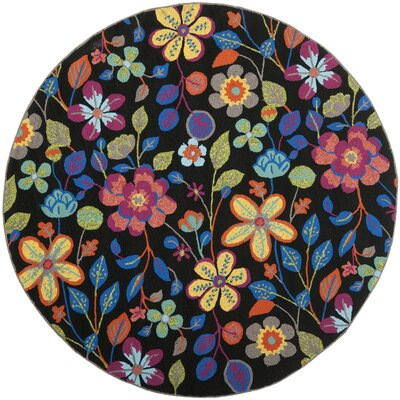 Hayes Floral Outdoor Area Rug Rug Size: Round 4
