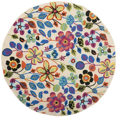 Hayes Flowers Outdoor Area Rug Rug Size: Round 6
