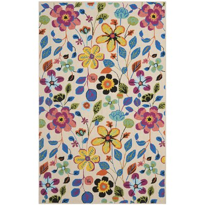 Hayes Flowers Outdoor Area Rug Rug Size: Rectangle 5 x 8