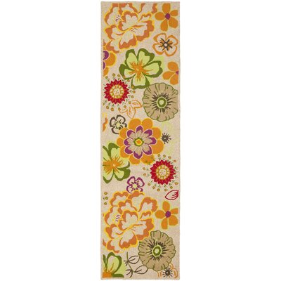 Hayes Ivory/Orange Outdoor Area Rug Rug Size: Runner 23 x 8