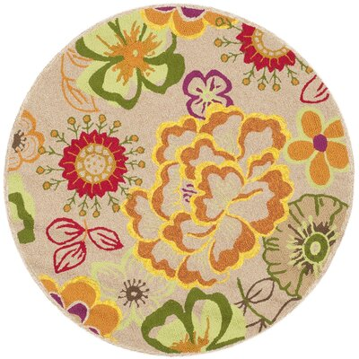 Stacy Ivory/Orange Outdoor Area Rug Rug Size: Round 6