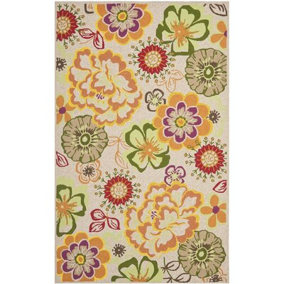 Hayes Ivory/Orange Outdoor Area Rug Rug Size: Square 6
