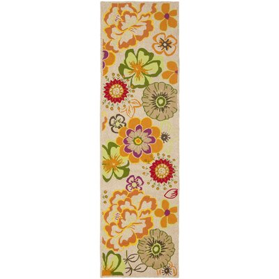 Stacy Ivory/Orange Outdoor Area Rug Rug Size: 24 x 4