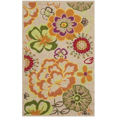 Hayes Ivory/Orange Outdoor Area Rug Rug Size: Rectangle 26 x 4