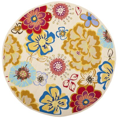 Stacy Yellow/Blue Indoor/Outdoor Area Rug I Rug Size: Round 6