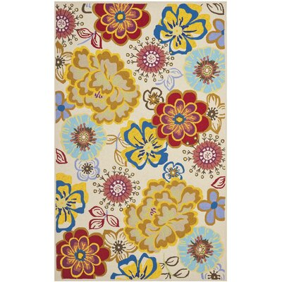 Hayes Yellow/Blue Indoor/Outdoor Area Rug Rug Size: 36 x 56