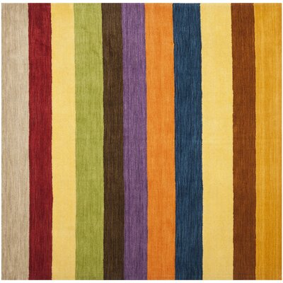 Sherri Hand Woven Wool Beige/Blue/Green Area Rug Rug Size: Square 6