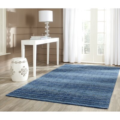 Sherri Hand-Woven Wool Blue Area Rug Rug Size: Rectangle 9 x 12