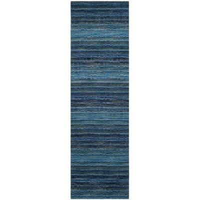 Sherri Hand-Woven Wool Blue Area Rug Rug Size: Runner 23 x 12