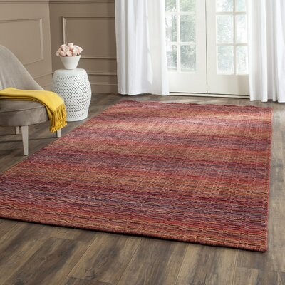 Sherri Red Stripe Area Rug Rug Size: Square 6'