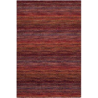 Sherri Red Stripe Area Rug Rug Size: 4 x 6