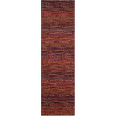 Sherri Red Stripe Area Rug Rug Size: Runner 23 x 8