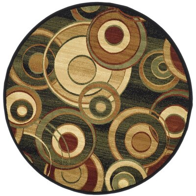 Chani Black Circle Area Rug Rug Size: Round 53