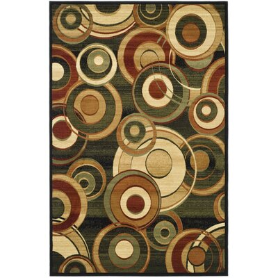 Anne Black Circle Area Rug Rug Size: 33 x 53
