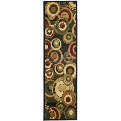 Anne Black Circle Area Rug Rug Size: Runner 23 x 14