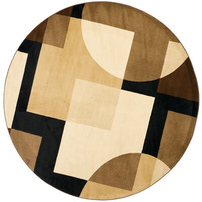 Charis Brown Geometric Area Rug Rug Size: Round 7