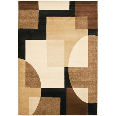Charis Brown Geometric Area Rug Rug Size: Round 5