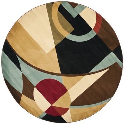 Nanette Flower-Petal Black / Multi Contemporary Rug Rug Size: Round 5