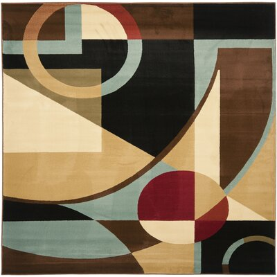 Nanette Flower-Petal Black / Multi Contemporary Rug Rug Size: Square 5