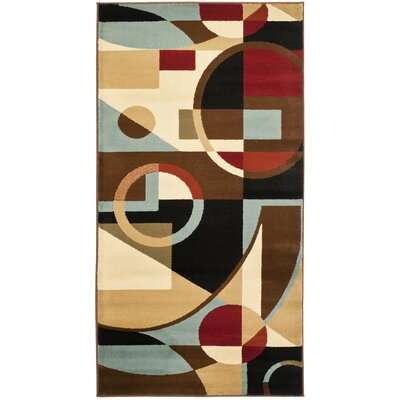 Nanette Flower-Petal Black / Multi Contemporary Rug Rug Size: Rectangle 27 x 5