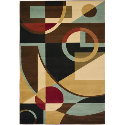 Nanette Flower-Petal Black / Multi Contemporary Rug Rug Size: 53 x 77
