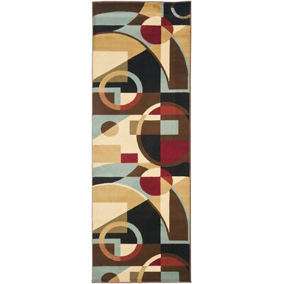 Nanette Flower-Petal Black / Multi Contemporary Rug Rug Size: Runner 2'4