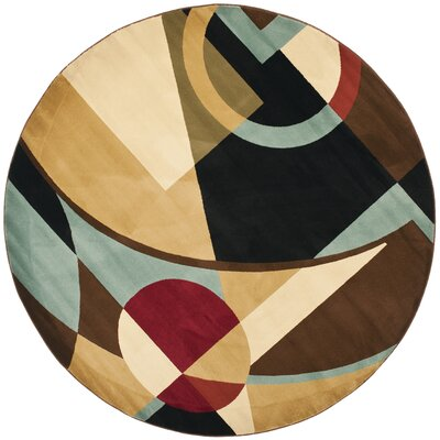 Nanette Flower-Petal Black / Multi Contemporary Rug Rug Size: Round 7