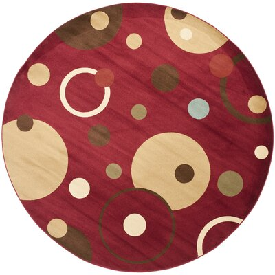 Charis Red Area Rug Rug Size: Round 7