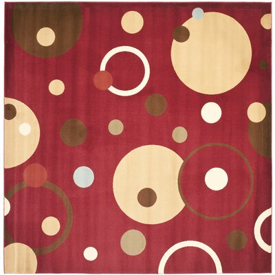 Nanette Red Area Rug Rug Size: Square 7