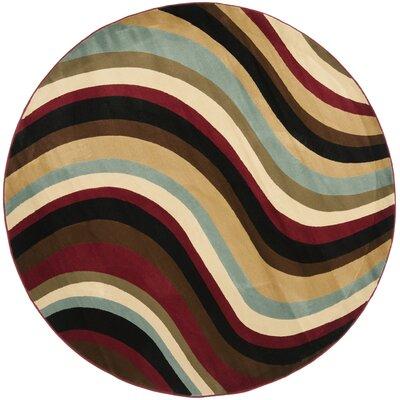 Charis Contemporary Geometric Area Rug Rug Size: Round 5