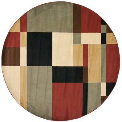 Charis Geometric Woven Area Rug Rug Size: Round 7