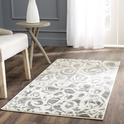 Nanette Dark Gray/Ivory Area Rug Rug Size: Rectangle 53 x 77