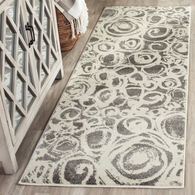 Nanette Dark Grey/Ivory Contemporary Area Rug Rug Size: Runner 24 x 67