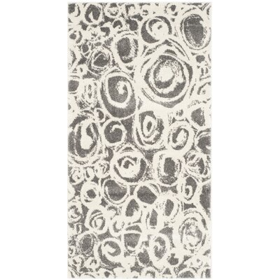 Nanette Dark Grey/Ivory Contemporary Area Rug Rug Size: 53 x 77