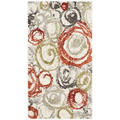Charis Ivory / Green Contemporary Rug Rug Size: Rectangle 2 x 37