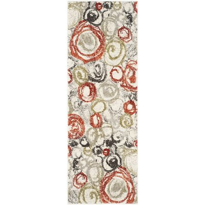 Charis Ivory / Green Contemporary Rug Rug Size: Runner 24 x 67