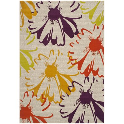 Nanette Light Grey / Purple Floral and Plant Rug Rug Size: Rectangle 52 x 76