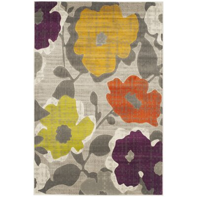 Nanette Grey / Yellow Floral and Plant Rug Rug Size: Rectangle 52 x 76