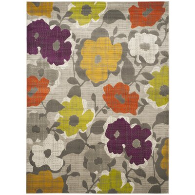 Nanette Grey / Yellow Floral and Plant Rug Rug Size: 52 x 76