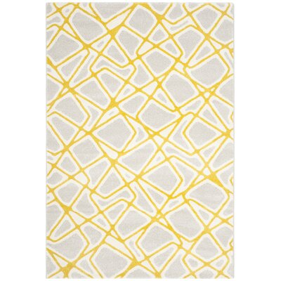 Nanette Light Gray / Yellow Area Rug Rug Size: 67 x 96