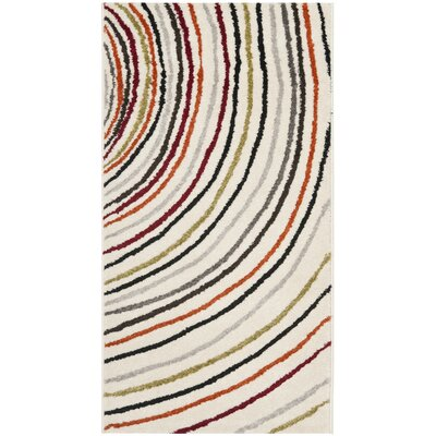 Charis Striped Ivory Area Rug Rug Size: Rectangle 27 x 5