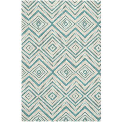 Charla Ivory & Light Teal Area Rug Rug Size: Rectangle 4 x 6