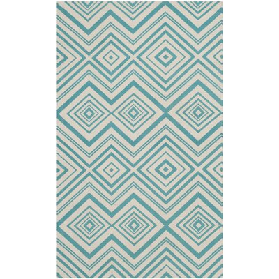 Charla Ivory & Light Teal Area Rug Rug Size: Rectangle 6 x 9