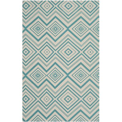 Charla Ivory & Light Teal Area Rug Rug Size: 5 x 8