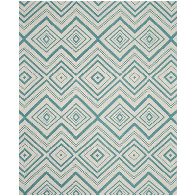 Charla Ivory & Light Teal Area Rug Rug Size: 73 x 93